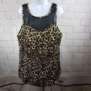 Trimshaper Leopard Print Swim top Sz 22W